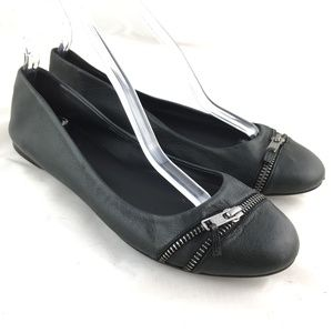 Ballet flats zip front black leather round toe 10